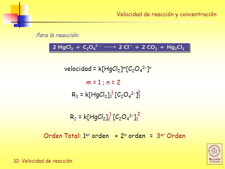 velocidad = k[HgCl2]m[C2O42-]n